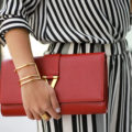 Olivia Palermo look - Stripes on stripes - red YSL clutch, gold art deco cuff, gold ring | SamCora Blog