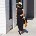 Black maxi dress, Panama straw hat, orange silk scarf, mansur gavriel tote bag, black leather slides, gold cuff | SamCora Blog