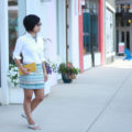 Beaded skirt, White button down skirt, Dylanlex Ryan necklace, Saint Laurent aviators, yellow Dolce and Gabbana clutch, silver schutz sandals | SamCora Blog