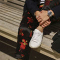 Floral Acetate pants - Jcrew schoolboy blazer, Theory white tee, Saint Laurent white sneakers, Givenchy black leather backpack, Omega James Bond watch | SamCora Blog