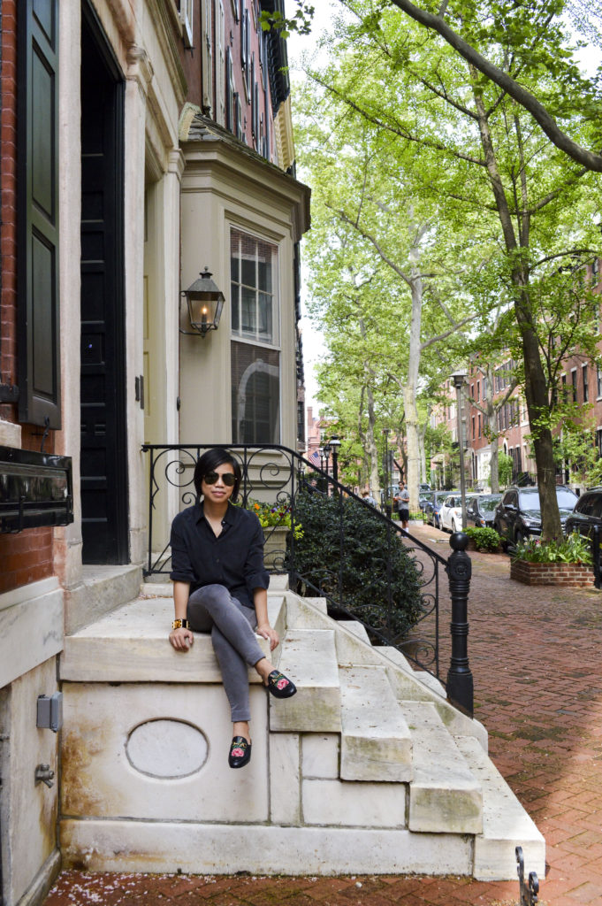 Gucci Princetown slipper, Gucci princetown floral mule, Equipment Brett silk shirt, gray skinny ag jeans, Hermes CDC, YSL Aviators, Rittenhouse square | SamCora Blog