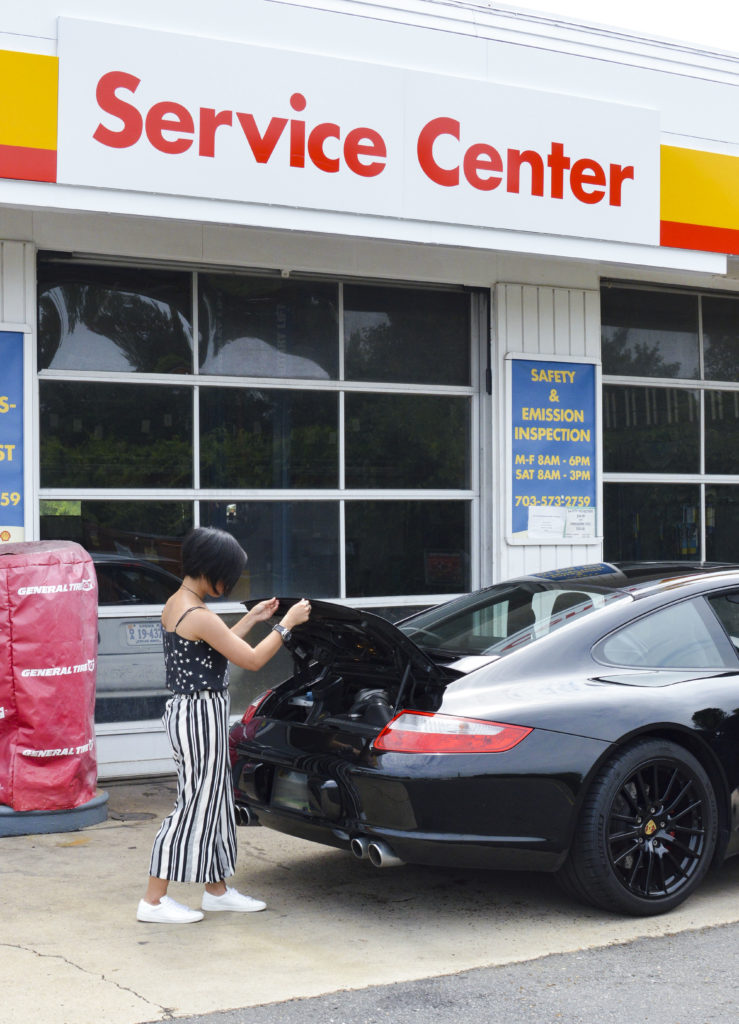 Equipment silk cami, striped pants, Saint laurent white sneakers, Porsche 911 Carrera S - SamCora Blog