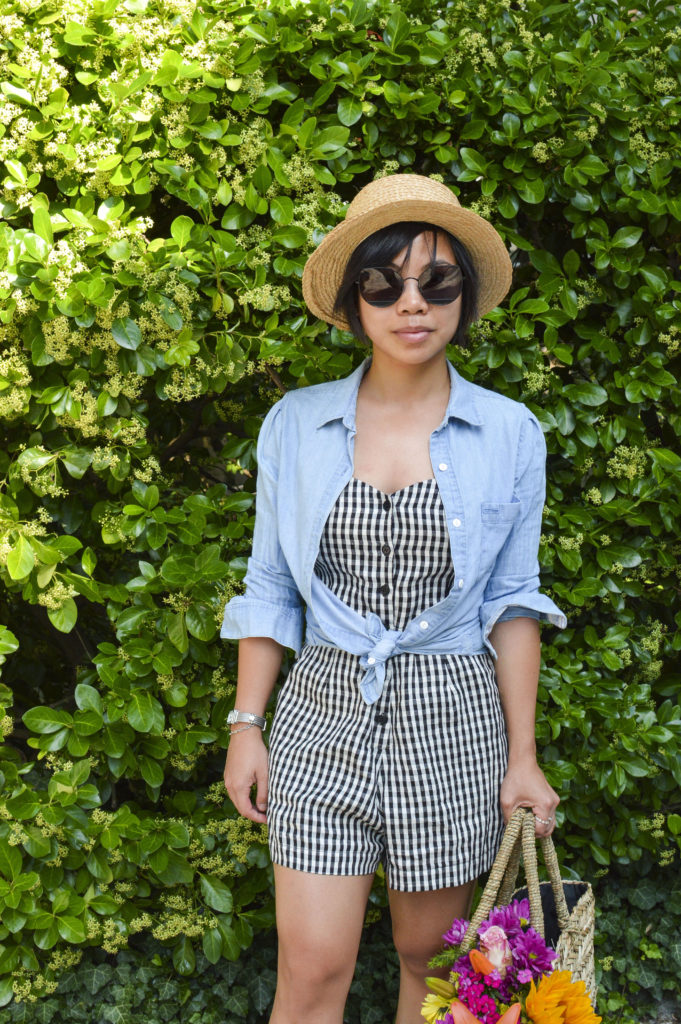Petit Pois Straw basket tote, chambray shirt, boater hat, Reformation gingham romper, Gentle monster sunglasses song of style, Philippe Charriol St Tropez watch   SamCora Blog