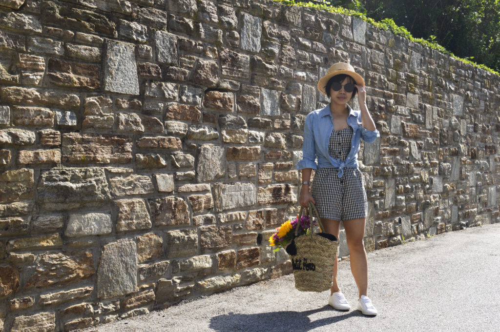Petit Pois Straw basket tote, chambray shirt, boater hat, Reformation gingham romper, Saint Laurent white sneakers, Gentle monster sunglasses song of style, Philippe Charriol St Tropez watch | SamCora Blog
