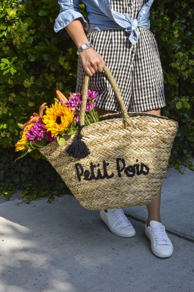 Petit Pois Straw basket tote, chambray shirt, gingham romper, Saint Laurent white sneakers, Philippe Charriol St Tropez watch | SamCora Blog