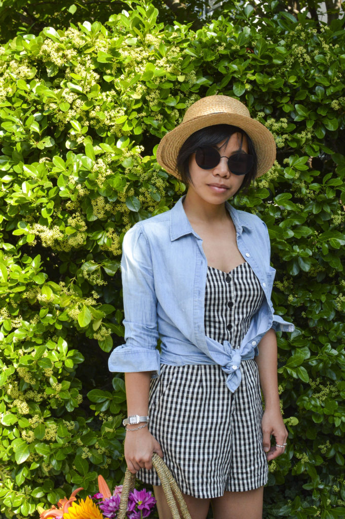 Petit Pois - chambray shirt, boater hat, Reformation gingham romper, Gentle monster sunglasses song of style, Philippe Charriol St Tropez watch | SamCora Blog