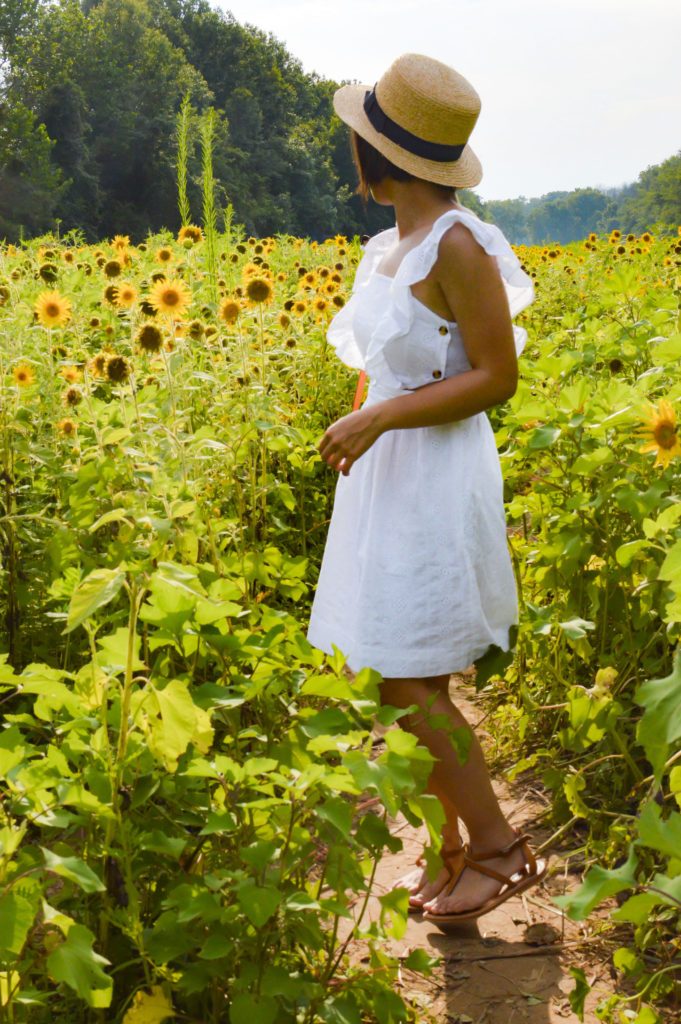 McKee-Beshers Sunflower fields – Maryland Sunflower fields – Madewell white eyelet dress, Sole Society boater hat, K Jacques St tropez buffon sandals | SamCora Blog