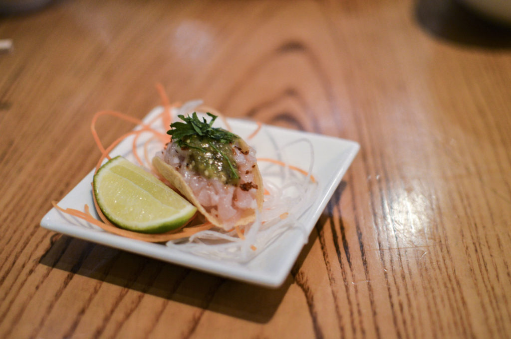Nobu 57 - Omakase 140 Yellowtail in corn taco | SamCora Blog