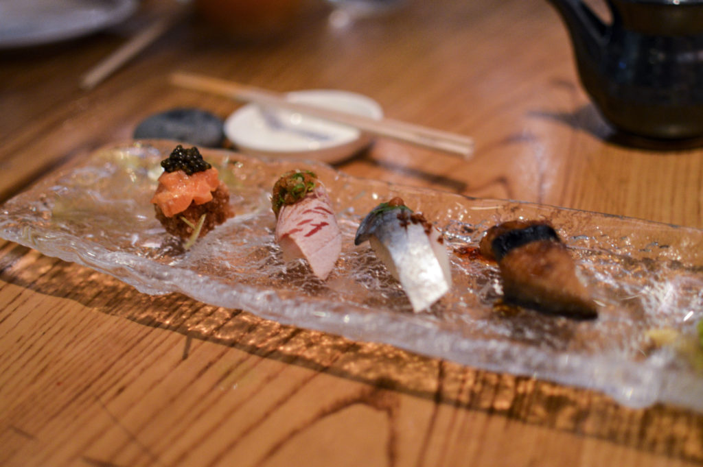 Nobu 57 - Omakase 140 crispy rice with salmon and caviar, toro, saba, eel | SamCora Blog