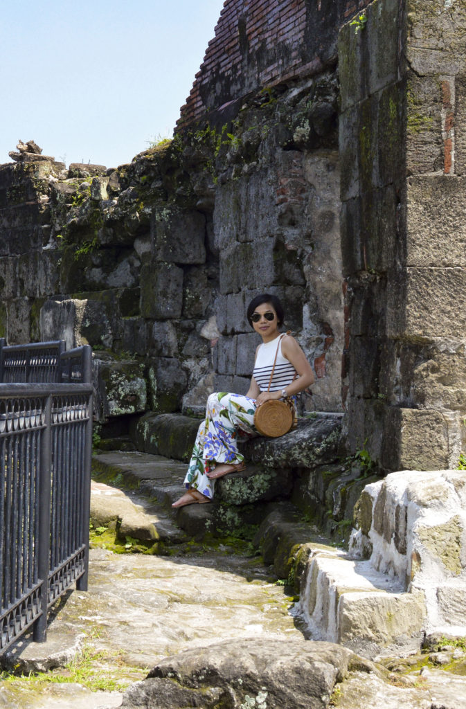 Baluarte de San Diego, Intramuros - Round straw bag, floral pants, striped sleeveless shirt | SamCora Blog