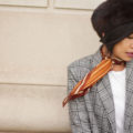 Plaid blazer - Petite studio jane blazer, brown fur beret, christian dior brown scarf, Theory white tee | SamCora Blog
