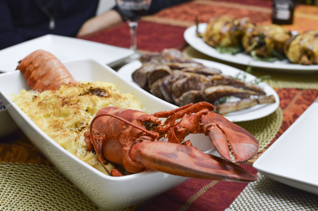 Thanksgiving Dinner - Surf and Turf - Lobster mac and cheese, lamb chops | SamCora
