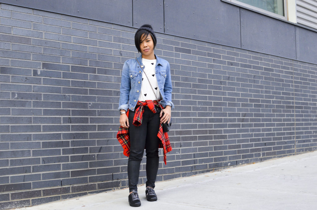 90s grunge - Dolce & Gabbana red plaid button-up, Sincerely jules heart tee, Acne studios denim jacket, mulberry lily bag, black, saint laurent black sneakers, moncler pom beanie | SamCora Blog