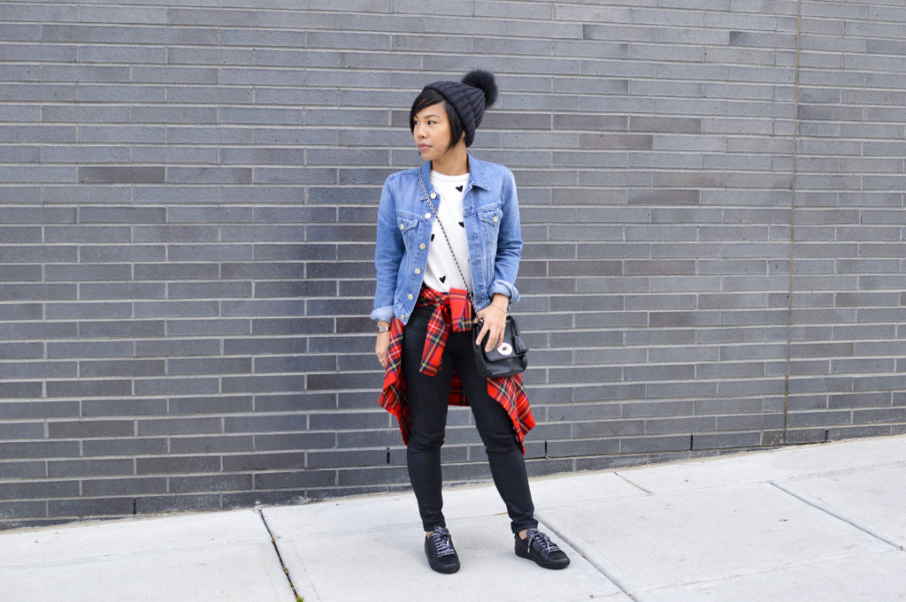 90s grunge - Dolce & Gabbana red plaid button-up, Sincerely jules heart tee, Acne studios denim jacket, mulberry lily bag, black, saint laurent black sneakers, moncler pom beanie | SamCora Blog 6