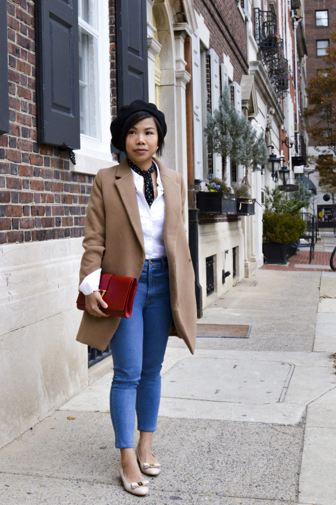 French beret hat - le beret francais beret, theory white button down shirt, reformation jeans, ferragamo nude bow pumps, ysl red clutch, star print scarf | SamCora Blog