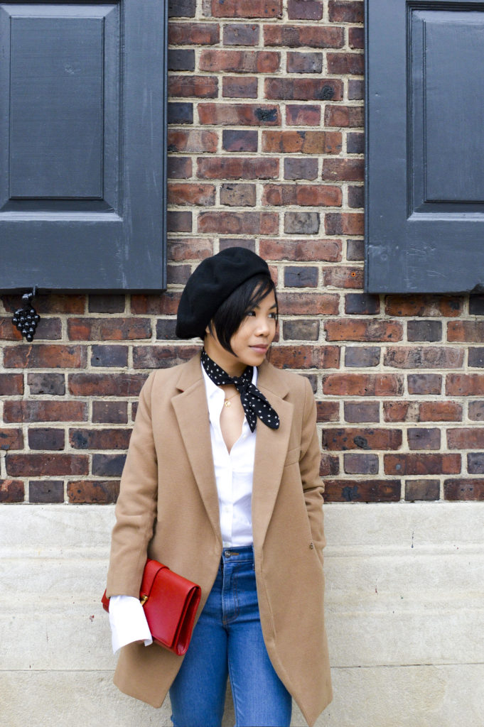 French beret hat - le beret francais beret, theory white button down shirt, reformation jeans, ysl red clutch, star print scarf | SamCora Blog