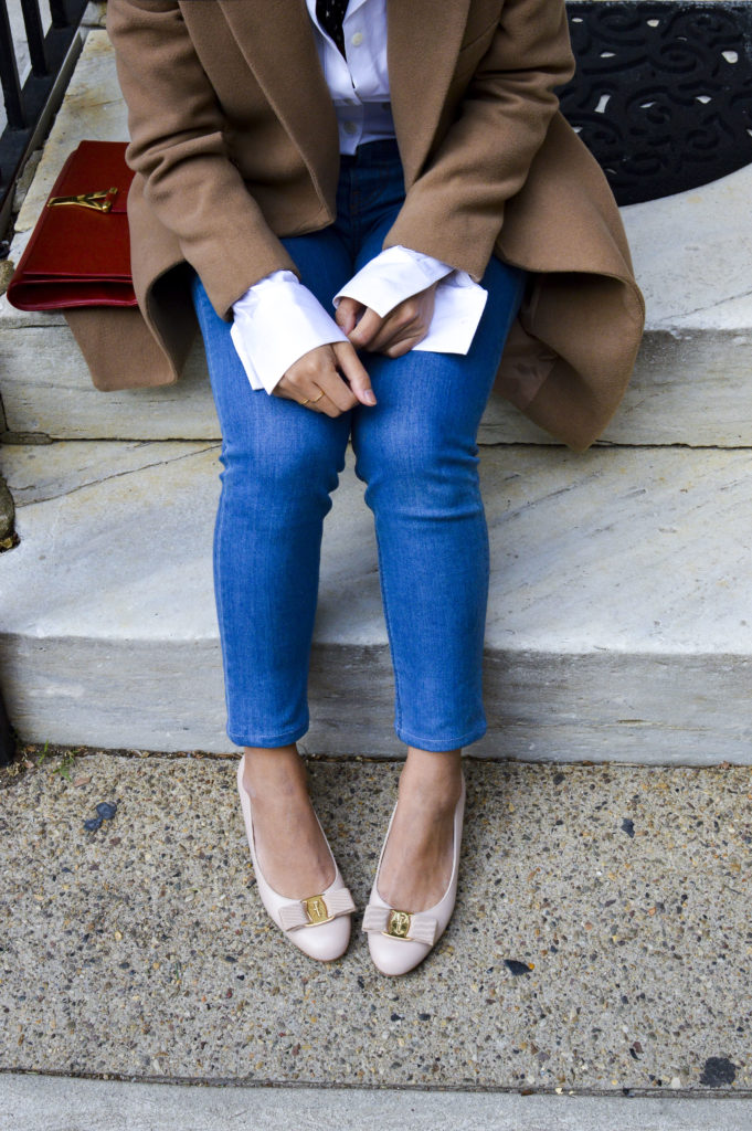 French beret hat - theory white button down shirt, reformation jeans, ferragamo nude bow pumps, ysl red clutch | SamCora Blog