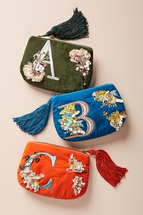 Stocking stuffers - Flowering monogram pouch anthropologie | SamCora Blog
